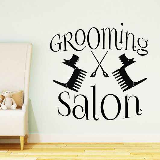 dbf65f207e25 Grooming Salon Logo Wall Decal Pet Shop Vinyl Wall Stickers Removable Dog  Cat Beauty Salon Wall