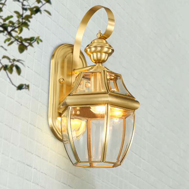 Bathroom Antique copper waterproof outdoor wall lamps led E27 bulb vintage bronze Wall sconce aisle terrace bedroom wall lights