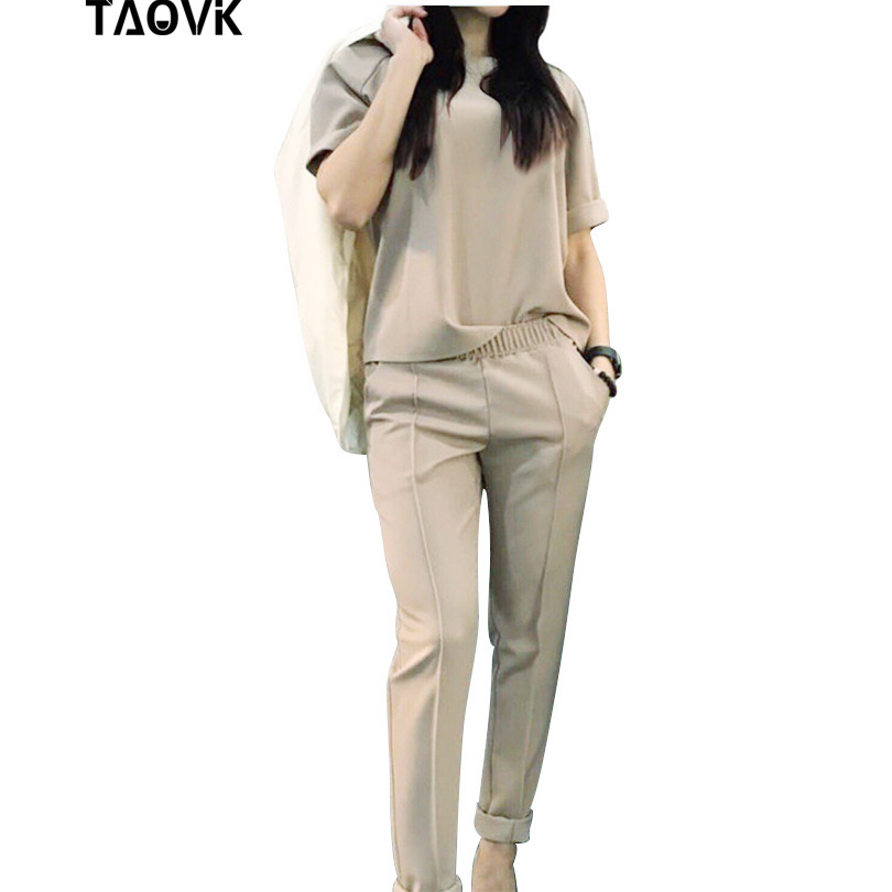 TAOVK אימונית קצר שרוול חולצה ומכנסיים אמצע קו מכנסיים שתי חתיכה להגדיר מוצק צבע 2 Pcs חליפות תלבושות 4 צבעים