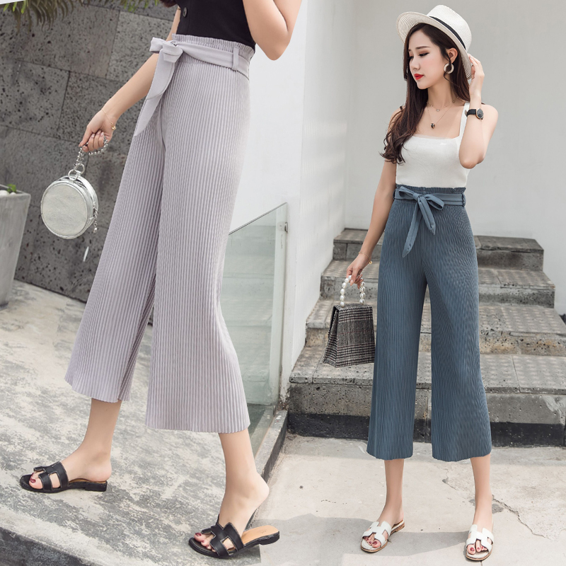 Summer Newest Female Fashion Solid Drawstring Elastic Elegant Chiffon Loose Wide Leg Pants Women Casual Pleated Pants Trousers
