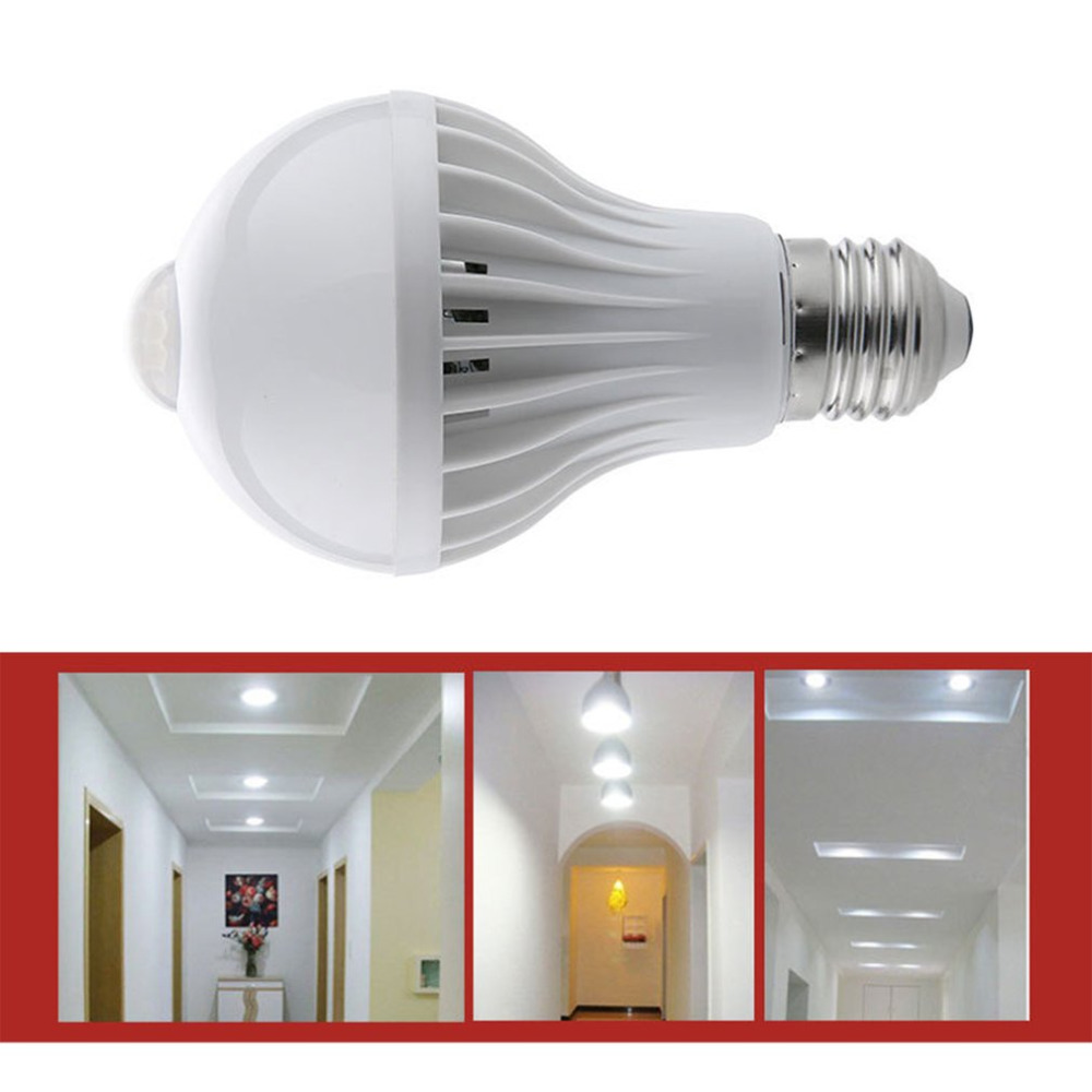 LED PIR Motion Sensor Lamp 220V LED Bulb Auto Smart Intelligent PIR Infrared Body Motion Sensor Light E27 Socket Drop Shipping