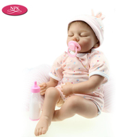 NPK New Arrival Lifelike Reborn Babies Realistic Silicone Reborn Dolls 20 50CM Kid Birthday Gift Mohair Rooted Magnet pacifier