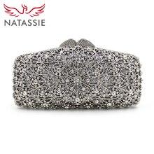 Natassie 2017 neue frauen clutch bag abendtaschen aushöhlen kristall hochzeit kupplungen mit kette dame-parteihandtasche