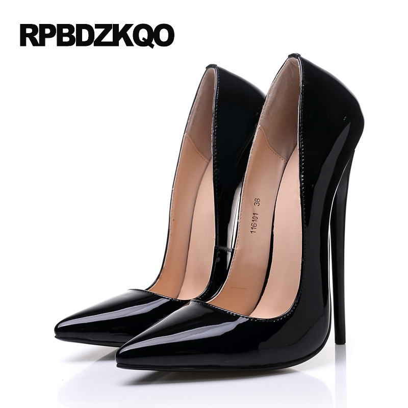 40704386a6 Crossdresser 14cm Pointed Toe High Heels 16cm Stilettos Sexy Extreme Patent  Leather Black Fetish Shoes Pumps