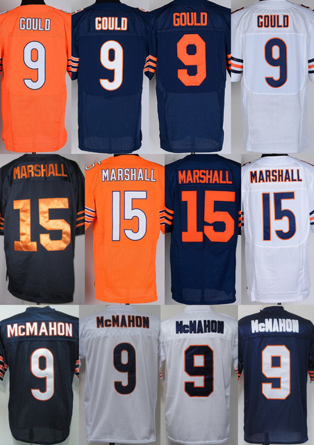 men's Authentic #9 Robbie Gould 15 Brandon Marshall 9 Jim McMahon Football Jersey