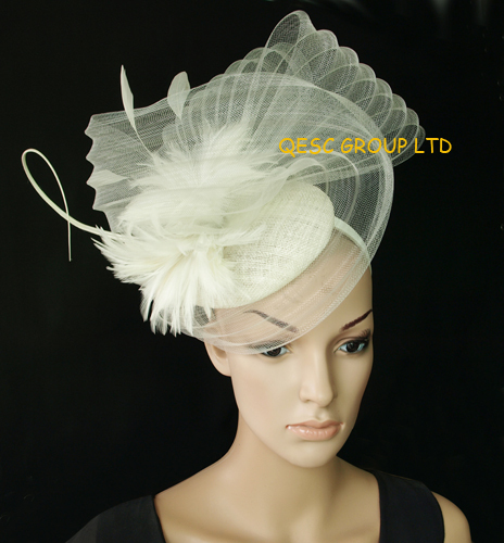 Cream Ivory Large Sinamay Hat Feather Fascinator Crin For Kentucky Derby Wedding In Hair Accessories From Women S Clothing On
