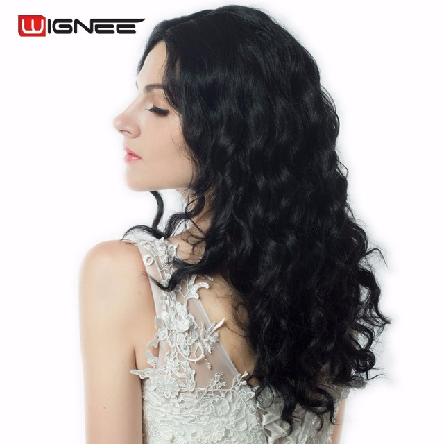 """Wignee 18"""" Medium Length Middle Part Body Wave Synthetic Wigs Natural False Fake Hair For Black/White Women Glueless Cosplay Wig"""