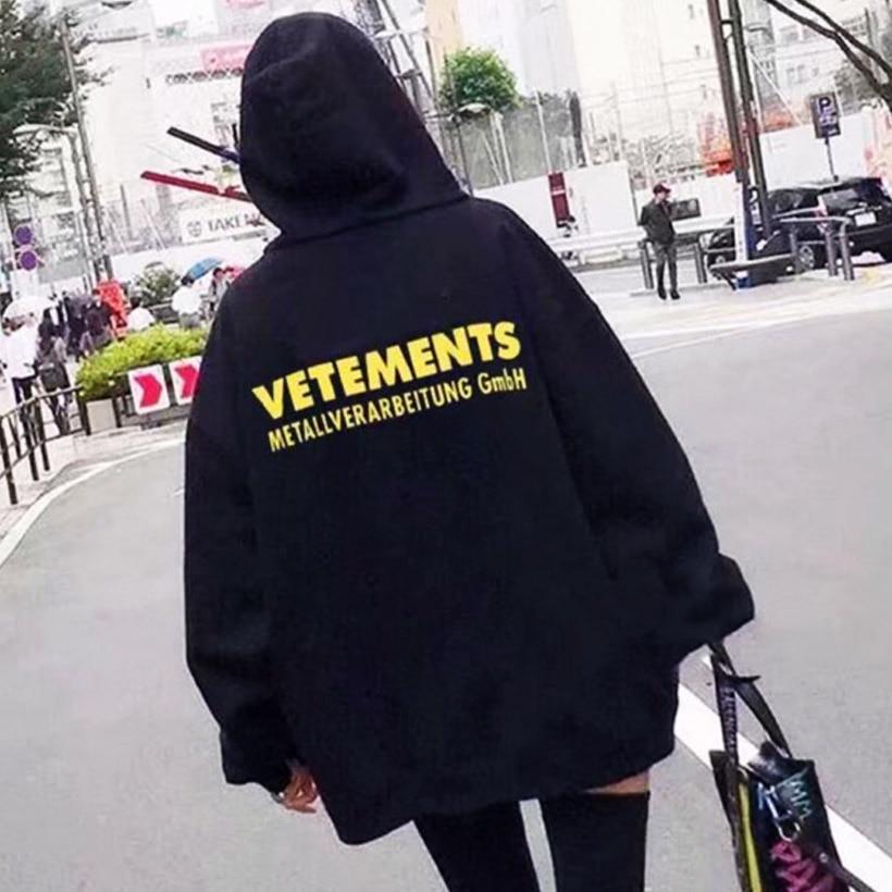 Vetement femme 2018 Hoodies Men Women Metallverarbeitung Gmbh Fashion Hip Hop pullover Vetements Letter Print Sweatshirts hoodie