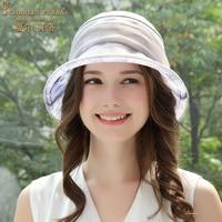 Summer New Silk Sunhat Elegant Holiday Sun Protection Korean Version Outdoor Hats Beach Ladies Beautiful Cap Women Caps H6651