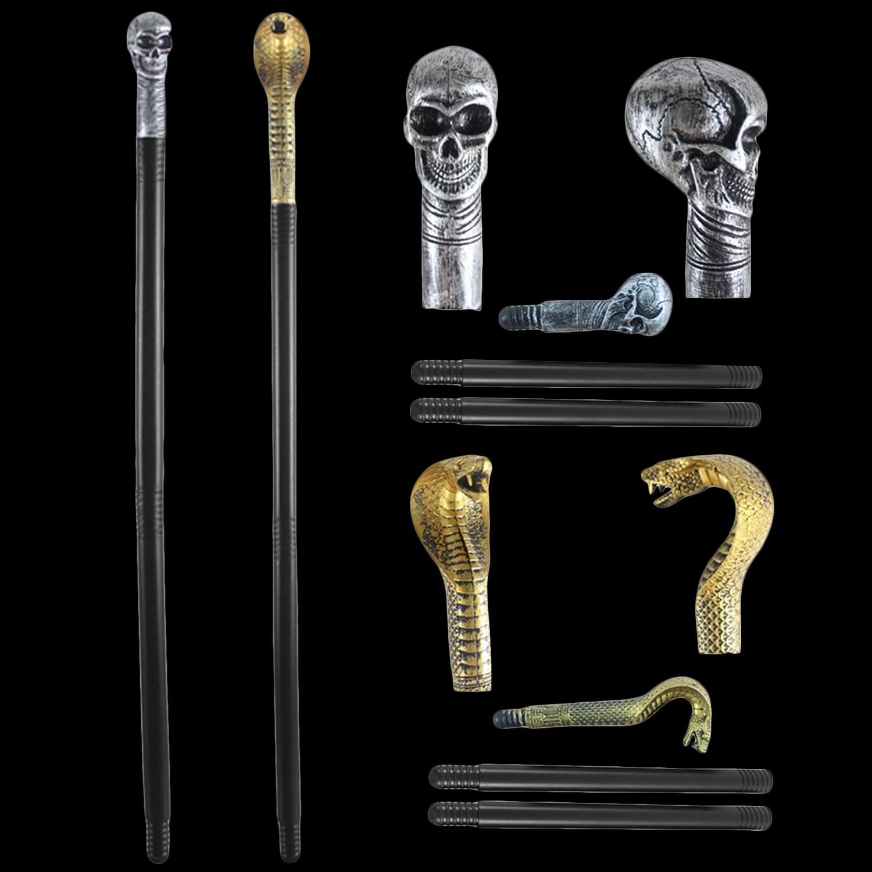Besegad Magic Wand Skull Skeleton Snake Head Scepter Cane Warlock Staff Wizard Pharaoh Costume Halloween Cosplay Accessories Toy
