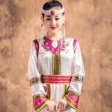 Adult minority costumes dress Retro Mongolian clothing Female wear Inner Mongolia Folk dance costumes Mongolian gown Robe Dress adult mongolia chapeau mongolia dance hat headdress xiangfei mongolian folk dance stage tv play movie headgear