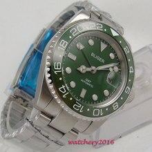 цена Top Brand Luxury 43mm BLIGER Green Dial SS Case Sapphire Crystal Date Window Luminous Hands GMT Automatic Mechanical Men's Watch онлайн в 2017 году