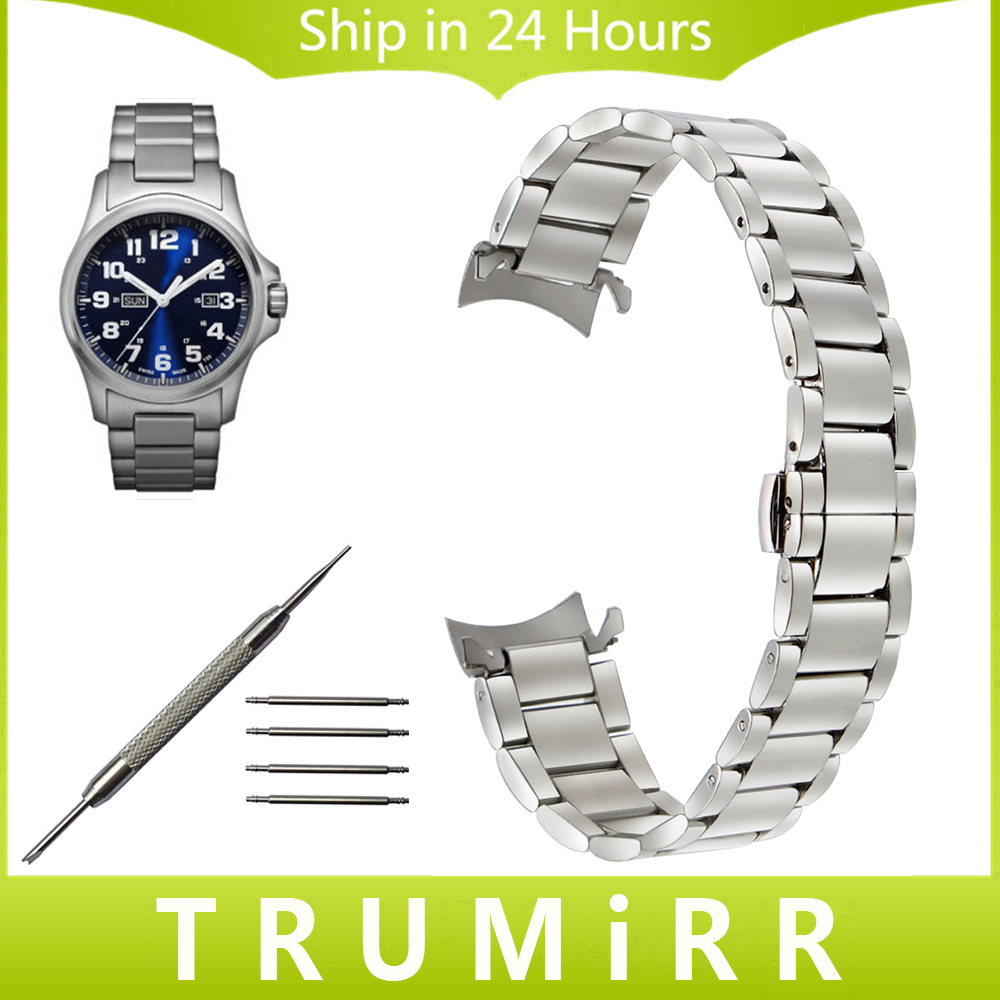 Curved End Stainless Steel Watchband 20mm 22mm for Luminox Men Women Watch Band Butterfly Clasp Strap Wrist Bracelet Silver Gold curved end stainless steel watchband for rado men women watch band wrist strap butterfly clasp belt bracelet 18mm 20mm 22mm 24mm