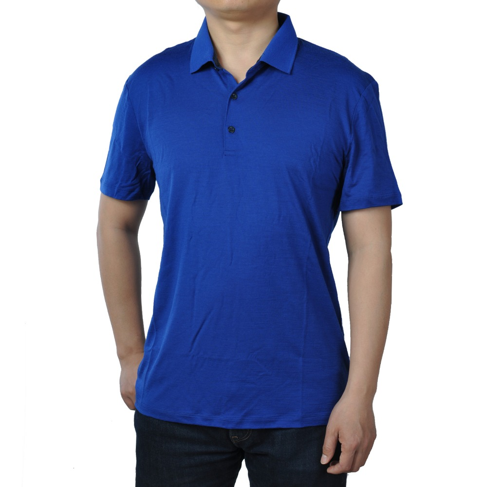 Image 5 - 2019 Summer Men's  New Merino Wool Short Sleeve blak POLO Shirt  Out Door Lightweight Tee Lapel Turn down V Collar Button-in Polo from Men's Clothing