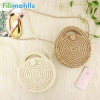 2019 New Round Straw Beach Bag Summer Mini Vintage Handmade Crossbody Bag  Girls Circle Rattan Small 6aed1d3a36ad