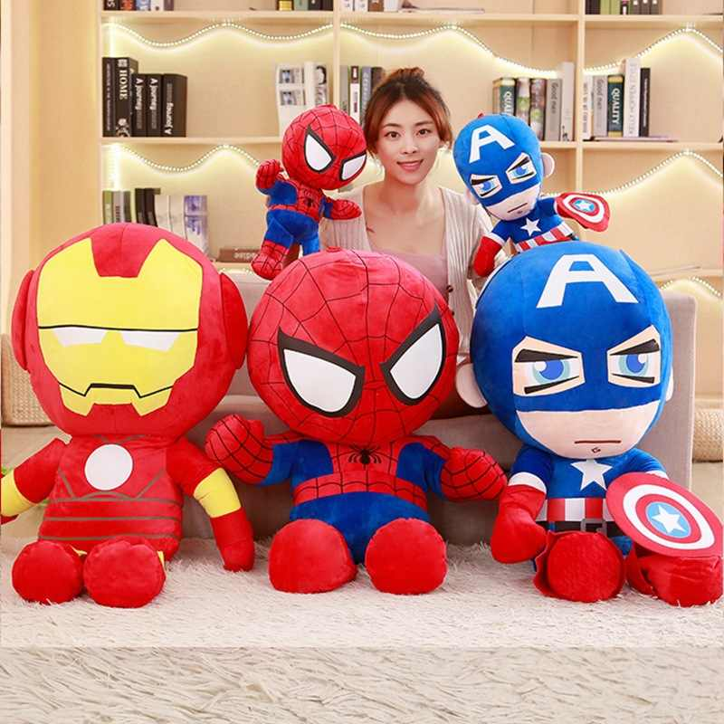 25 cm de Pelúcia Macia Super Herói Avengers Filme Capitão América Homem De Ferro Homem Aranha de Pelúcia Brinquedos de pelúcia Boneca de Aniversário Dos Miúdos das Crianças presente do dia