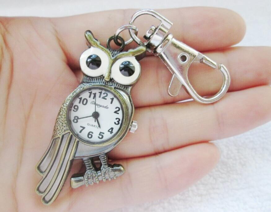 2016 Retro Vintage Punk Steampunk Quartz Watch Pocket Watch Chain Owl Pattern Necklace Bronze Free Shipping 10pcs/lot