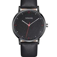 Мужчины часы 2016 кварцевые часы кожа 30 м водонепроницаемость ultra slim relogios masculinos reloj де-лос-hombres horloges mannen