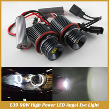No Error 90 W LED Marker Ángel para e39 e60 e61 e63 e64 e65 e66 e87 e53 X5 E39 led angel eyes