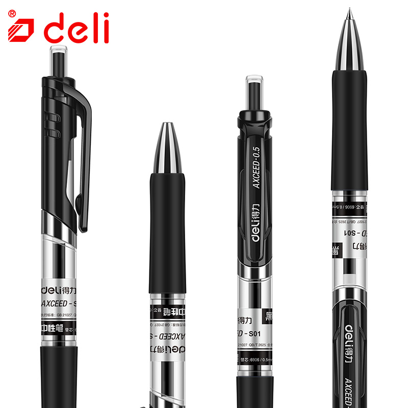 Deli 0.5mm Black Ink Plastic Gel Pen Kawaii Pens For Kids Gift Student Stationery Office School Supplies 12pcs Writing Gel Pen deli gel pens office 12 pcs black ink stationery pen cute school supplies creative stationery for writing high quality pen