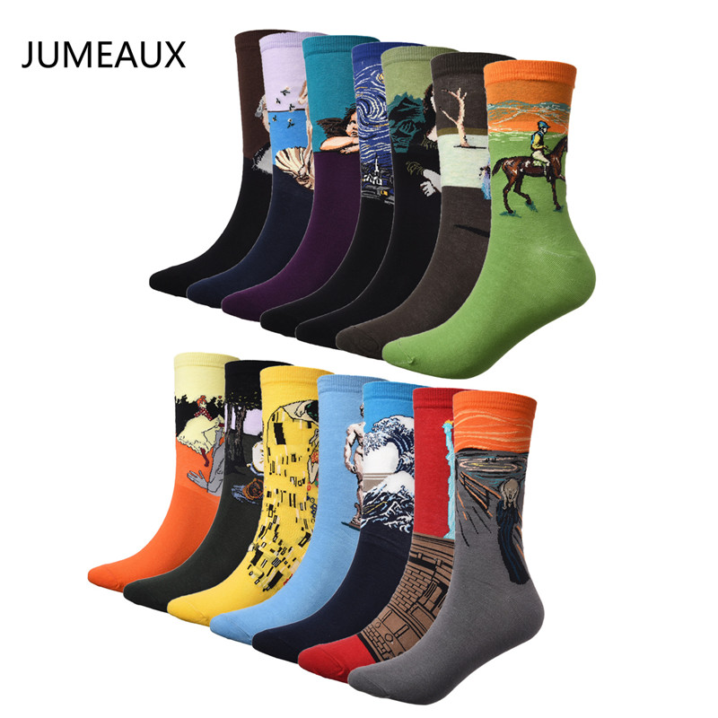 JUMEAUX Casual Cotton Socks Men Retro Harajuku Art Abstract Painting Pattern Series Socks Hot Sale 4
