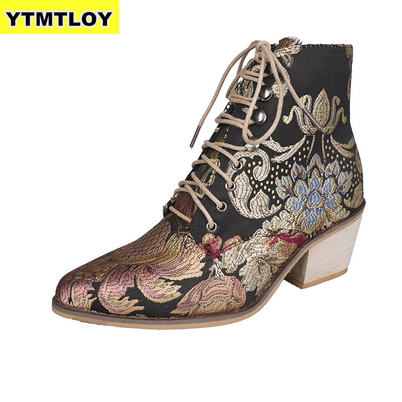 Retro Bohemian Women Boots Printed Ankle Vintage Motorcycle Booties Ladies Shoes Woman 2019 New Embroider High Heels Boots