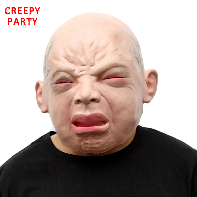 Crying Baby Mask Realistic Scary Halloween Mask Adults Face Latex ...