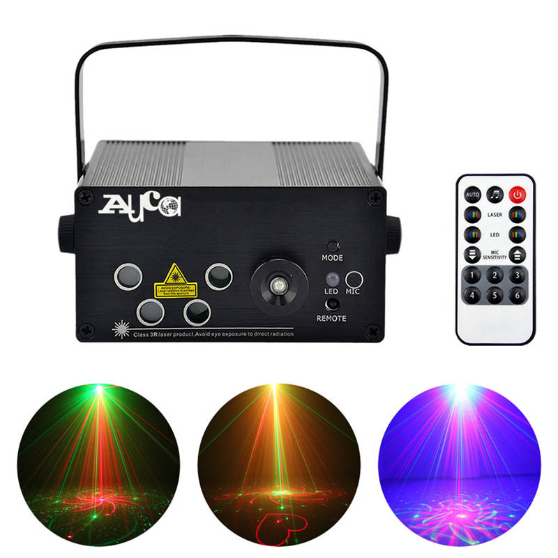 AUCD Mini Remote 5 Lens 80 Patterns Red Green Laser BLUE LED Stage Lighting DJ Home Xmas Party Holiday Show Projector Lights L80 niugul dmx stage light mini 10w led spot moving head light led patterns lamp dj disco lighting 10w led gobo lights chandelier