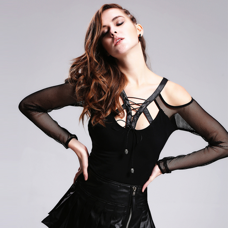 Diable mode Steam Punk femmes Sexy dos nu T-Shirts gothique noir maille manches t-Shirt décontracté chemise hauts