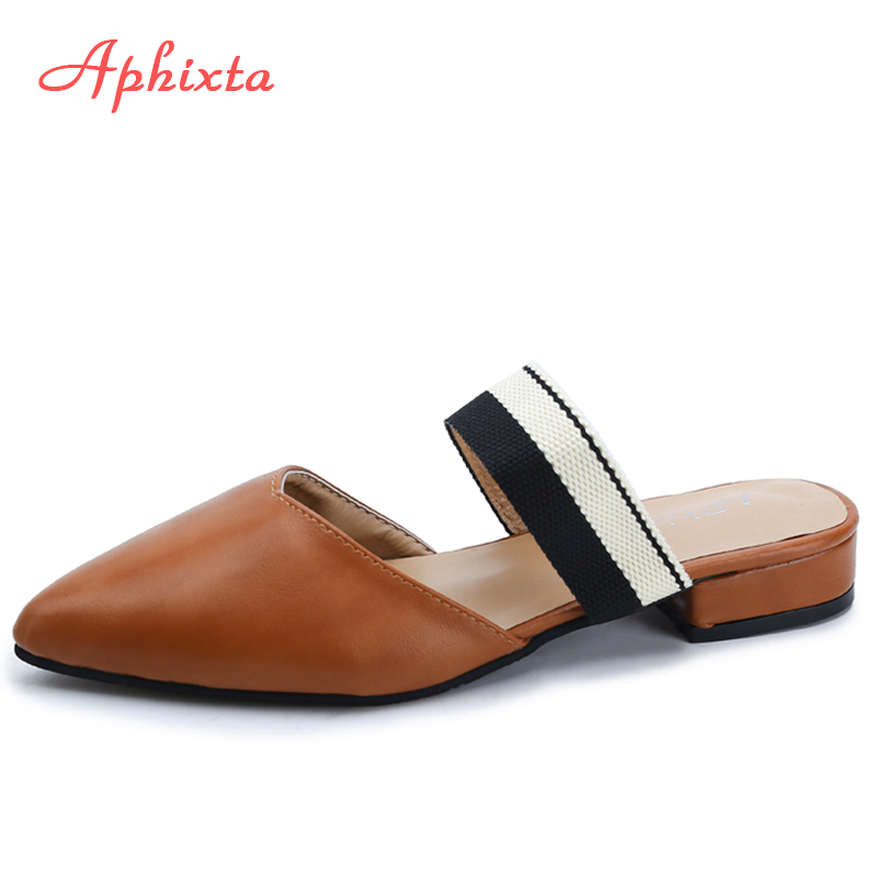 Aphixta Fashion Women Slides Pointed Toe Summer Shoes Square Heels Brown Beige Slipper Women Shoes Mules Outdoor Zapatos Mujer