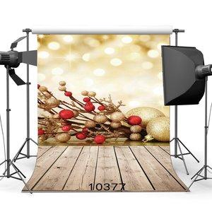 Image 1 - Fotoğraf Arka Planında Bokeh Halo Noel Topları Vintage Stripes Ahşap Zemin Merry Christmas Portreler Arka Plan