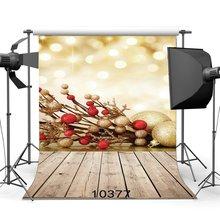 Fotoğraf arka planında Bokeh halo noel topları Vintage Stripes ahşap zemin Merry Christmas portreler arka plan