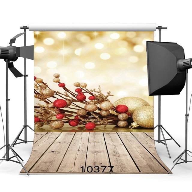 Photography Backdrops Bokeh Halos Christmas Balls Vintage Stripes Wood Floor Merry Christmas Portraits Background