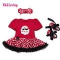 Macacão de recém-nascidos do bebê girls dress bonito vermelho tutu ruffle vestidos robe fille infantil dress menina princesa roupas de festa para o natal