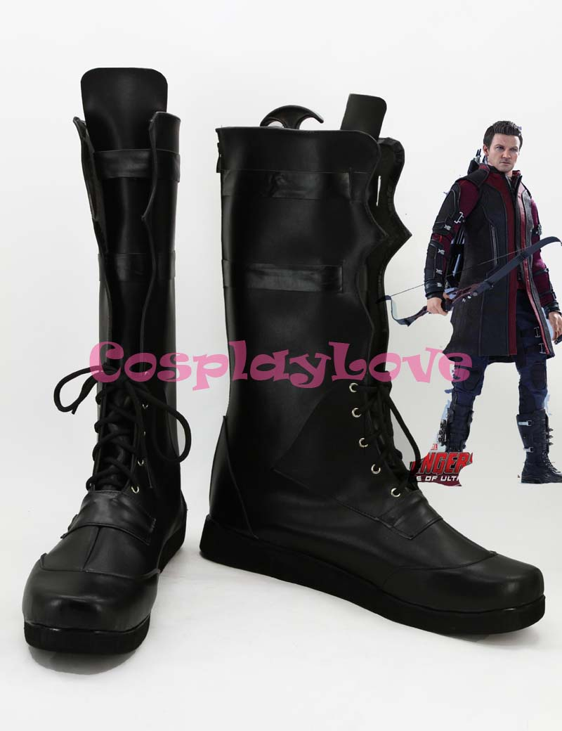 Newest Custom Made American Movie Marvel's The Avengers Hawkeye Cosplay Shoes Long Boots For Halloween