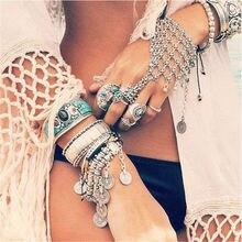 PINKSEE Boho Gypsy Slave Hand Finger Chain Multilayer Bracelets Antique Silver Color Handcrafted Bracelet Retro Women