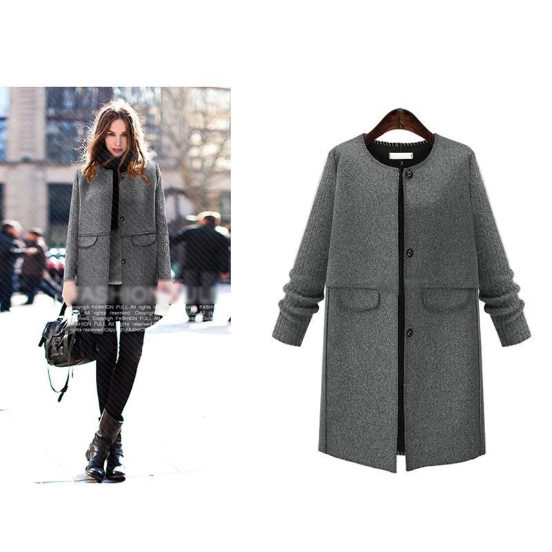 2017 New Woolen Korean Long Womens Coats Winter Warm Jackets Outwears Fashion