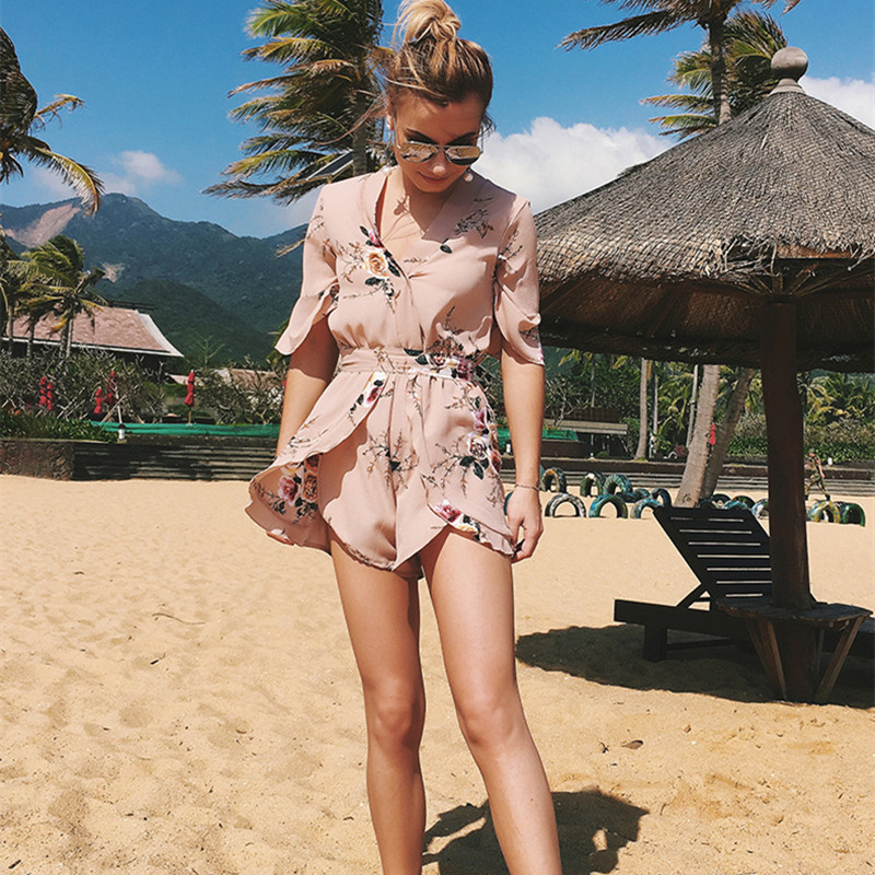 Summer chiffon Playsuit  Women daily wear V-Neck Rompers Sexy Club Elegant Bodycon Beach Jumpsuit Playsuit Romper vacation