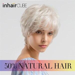 INHAIR CUBE синтетические волосы натуральные волнистые короткие парики с челкой серый белый пушистый многослойный парик для женщин Бесплатный ...
