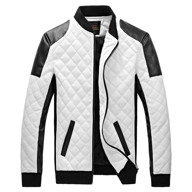 2017 Winter Mens Black White Leather Jackets And Coats Men