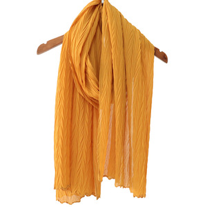 Image 5 - Long Scarf Muslim Headscarf Headband Wrinkles Solid Color Quality Scarf Solid Color Womens Cotton Wrinkles Wrap Bubble Shawl