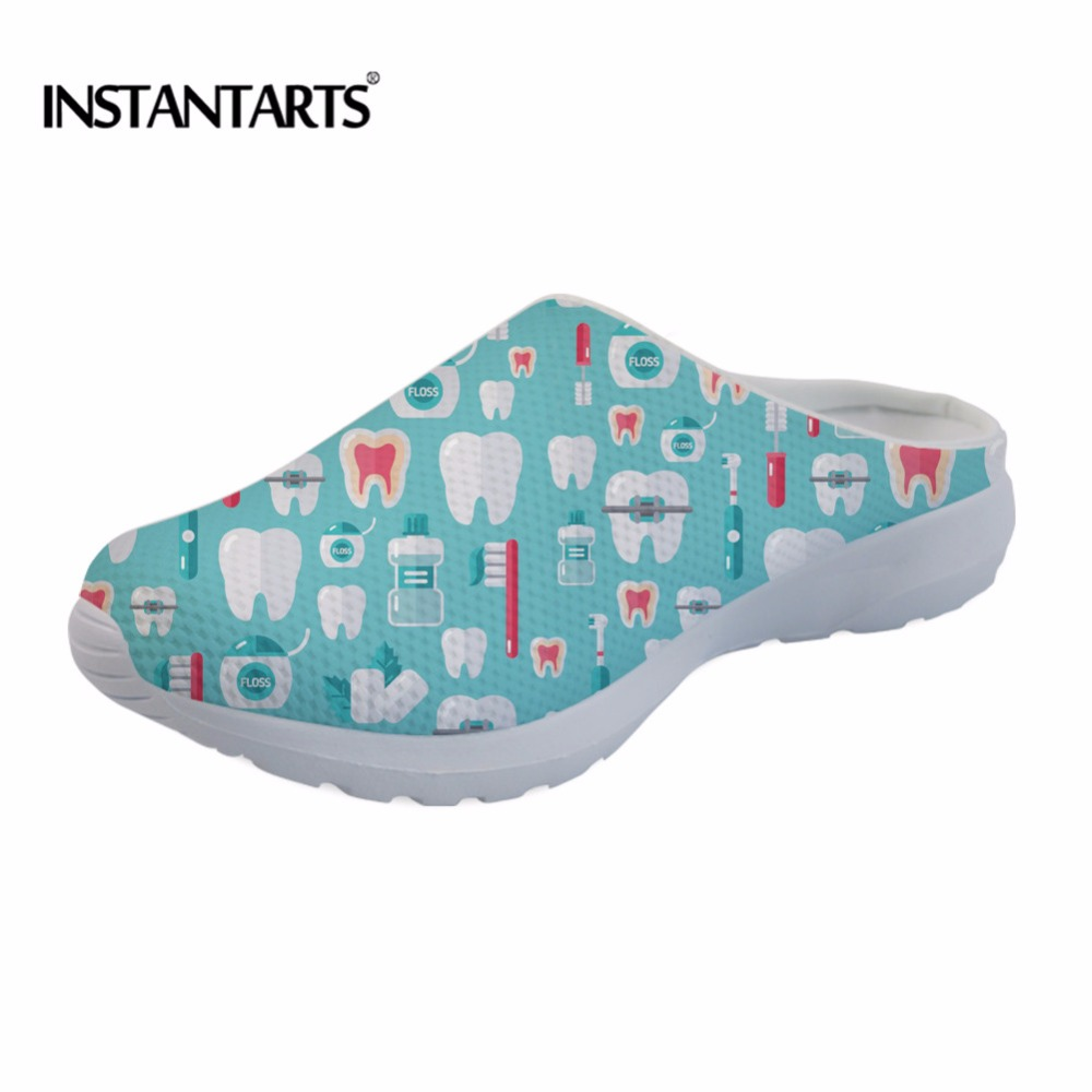 INSTANTARTS Women Men Outdoor Sandals Summer Beach Shoes Dental Equipment Print Quick Drying Water Slippers Mesh Platform Shoes