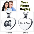 Personalized Love Heart Necklace Photo Tag Custom Engraving Picture Necklace Stainless Steal Pendant Best Family Gift