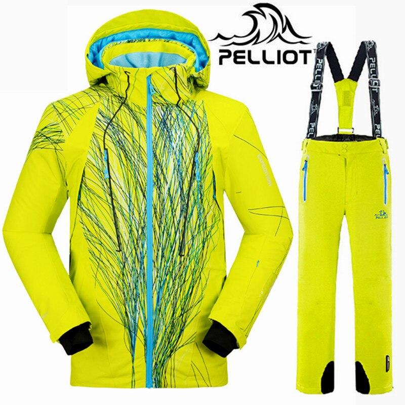 Pelliot marca hombres del juego de esquí impermeable chaqueta de esquí invierno Snowboard masculino pantalón chaqueta traje de esquí de montaña mujeres nieve ropa