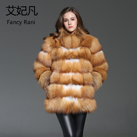 Luxury Brand Real Fur Coats New Women Outwear Winter Warm Thick Natural Red Fox Fur Fur