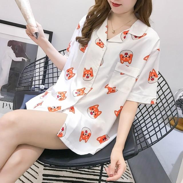 Bangtan Boys Pajama Set Summer Harajuku Printed Kawaii Pyjamas Kpop Anime Heart Tata Pijama Mujer Chimmy Cooky Sleeepwear