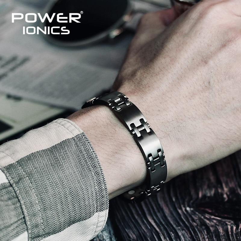 Power Ionics 100 Pure Titanium w NdFeB Neodymium Magnetic Therapy Men Wtristband Bracelet PT062
