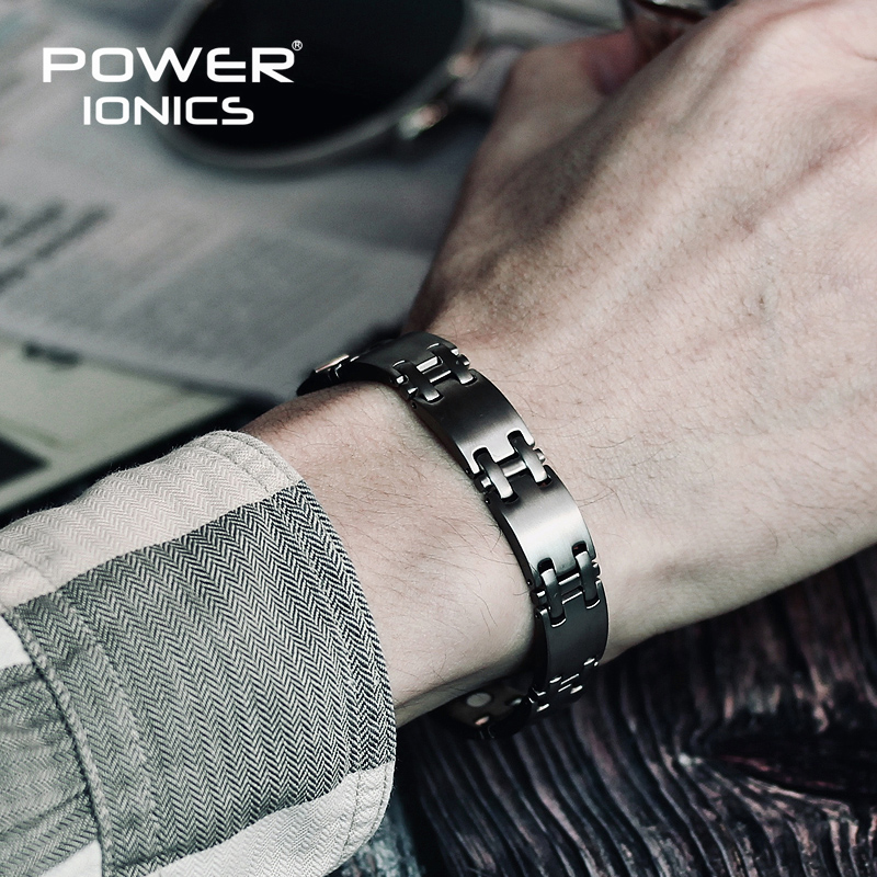 Power Ionics Pure Titanium W/ NdFeB Neodymium Magnetic Therapy Men Wtristband Bracelet PT062