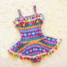 Одежда с кисточками для маленьких девочек, Цельный Детский купальник для девочек, милый детский купальный костюм с принтом, летний купальный костюм, пляжная одежда