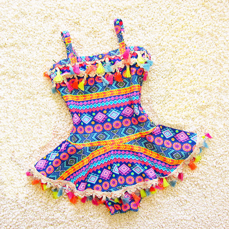 2019 Tassel Baby Girl Clothes One Piece Kids Swimwear For Girls Print Lovely Children Swimsuit Summer Swimming Beachwear
